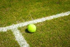 在草地网球场的网球 库存照片