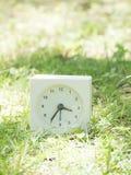在草坪围场, 3:35三三十五的白色简单的时钟 免版税图库摄影