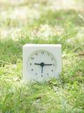 在草坪围场, 9:15的白色简单的时钟九十五 免版税库存图片