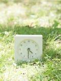 在草坪围场, 4:30的白色简单的时钟四三十半 免版税库存图片