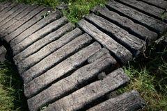 在草坪的老水泥道路方式步行方式有草的, y形状,弯曲 库存照片