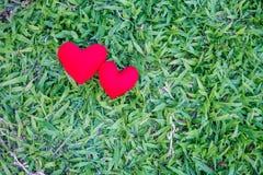 在草坪背景的两红心 假日情人节,婚礼 库存图片