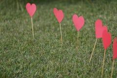 在草坪运用的心脏形状 免版税库存图片