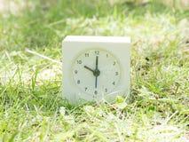 在草坪围场的白色简单的时钟, 10:00十o `时钟 免版税库存照片
