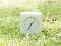 在草坪围场, 1:35一三十五的白色简单的时钟 免版税库存图片