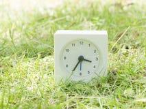 在草坪围场, 3:35三三十五的白色简单的时钟 库存照片
