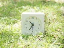 在草坪围场, 10:35十三十五的白色简单的时钟 库存图片