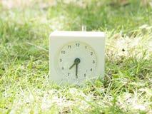 在草坪围场, 7:30的白色简单的时钟七三十半 免版税库存图片