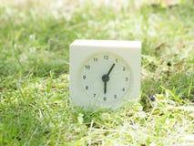 在草坪围场, 6:05的白色简单的时钟六五 库存照片