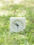 在草坪围场, 10:50的白色简单的时钟十五十 库存照片