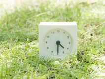 在草坪围场, 4:30的白色简单的时钟四三十半 免版税库存照片