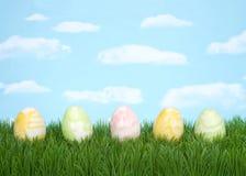 在草天空背景的淡色打旋的复活节彩蛋 库存照片