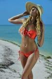 在草帽摆在的比基尼泳装模型性感在热带海滩 免版税库存照片