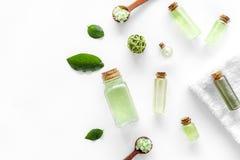 在草本化妆用品集合的腌制槽用食盐用茶橄榄在文本的白色背景顶视图空间离开 免版税图库摄影