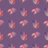 在草本样式的紫色无缝的可爱的样式 皇族释放例证
