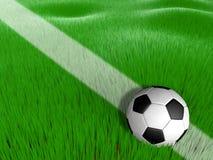 在草橄榄球的足球 免版税库存图片