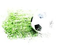 在草水彩绘的背景的抽象橄榄球球 向量例证