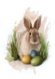 在草用三个五颜六色的被绘的鸡蛋,剪影的逗人喜爱的复活节兔子 皇族释放例证