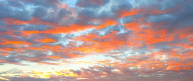 在草甸和橙色天空的美好的燃烧的日落风景在它上 惊人的夏天日出作为背景 免版税库存照片