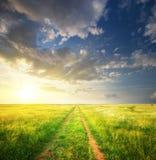 在草甸和深蓝天的运输路线。 库存照片