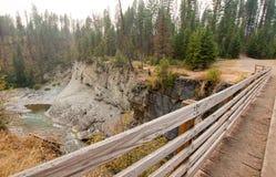 在草甸小河峡谷的木桥远足的和马背包装的足迹的在鲍伯马歇尔自然保护区在蒙大拿美国 库存图片