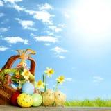在草甸的复活节篮子 免版税库存图片