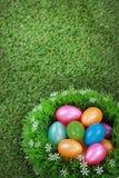 在草甸的复活节彩蛋 免版税图库摄影