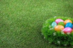 在草甸的复活节彩蛋 图库摄影
