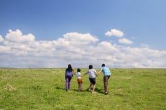 在草甸的嬉戏的家庭 免版税图库摄影