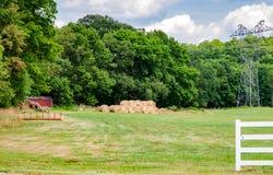 在草甸的干草捆 农场 乡下 免版税库存图片