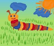 在草甸的毛虫 库存图片