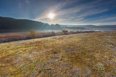 在草甸的秋季冷的早晨 免版税库存照片
