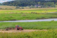 在草甸的红色拖拉机 库存照片