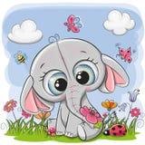 在草甸的逗人喜爱的动画片大象 向量例证