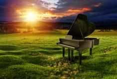 在草甸的钢琴在剧烈的天空下 库存照片