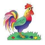 在草甸的骄傲的动画片雄鸡 免版税库存图片