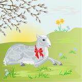 在草甸背景传染媒介的复活节羊羔 免版税库存图片