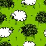 在草甸,您的无缝的样式的滑稽的绵羊 免版税库存图片