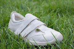 在草的一双鞋子 免版税库存图片