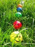 在草的五颜六色的球 库存照片