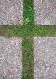 在草的十字架 库存图片