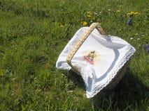 在草的复活节篮子 图库摄影