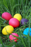 在草的复活节彩蛋 免版税库存图片