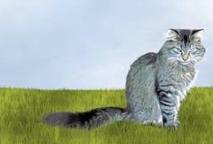 在草的懊恼猫 免版税库存照片