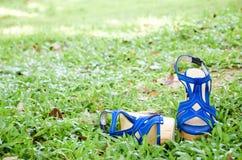 在草的有带子的高跟鞋鞋子。 库存图片