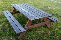 在草的木表长凳 免版税图库摄影