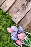 在草的桃红色和紫色塑料复活节彩蛋 免版税库存照片