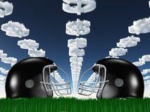 在草的橄榄球盔与美元云彩 免版税库存图片