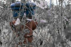 在草的消防栓 免版税图库摄影