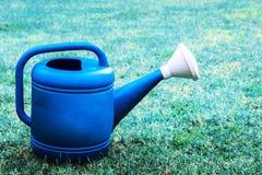 在草的特写镜头蓝色塑料喷壶在庭院 免版税库存照片